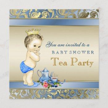 Elegant Blue And Gold Boys Tea Party Baby Shower Invitation