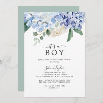 Elegant Blue Hydrangea It's A Boy Baby Shower