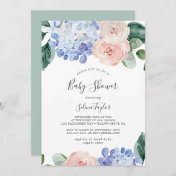 Elegant Blue Hydrangea | White Baby Shower