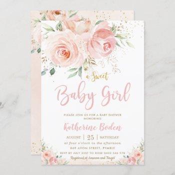 Elegant Blush Pink Floral Gold Girl Baby Shower