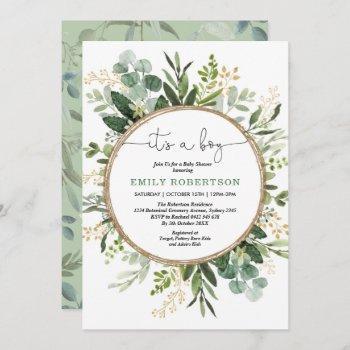 Elegant Botanical Greenery Gold Boy Baby Shower Invitation