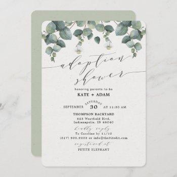 Elegant Eucalyptus Adoption Baby Shower Invitation