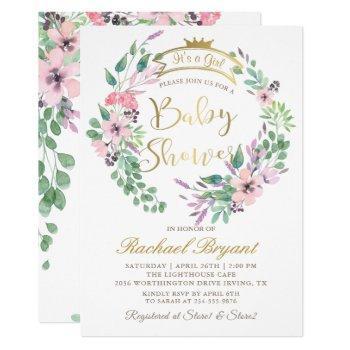 Elegant Garden Flowers Gold Crown Girl Baby Shower Invitation