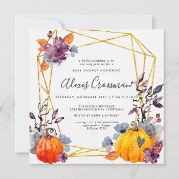 Elegant Gold Geometric Autumn Pumpkin Baby Shower