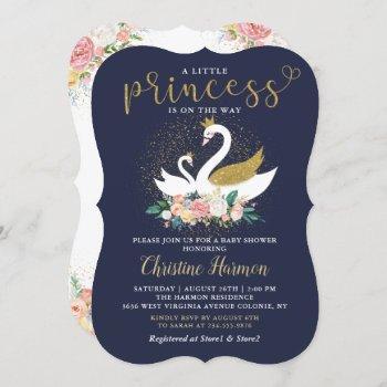 Elegant Gold Swan Princess Pink Floral Baby Shower