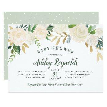 Elegant Green Neutral Blooms Floral Baby Shower Invitation