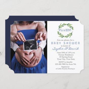 Elegant Greenery Wreath Photo Boy Baby Shower Invitation