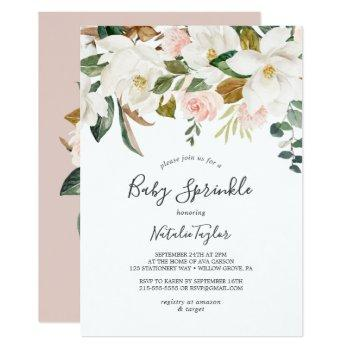 Elegant Magnolia   White And Blush Baby Sprinkle Invitation
