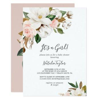 Elegant Magnolia | White And Blush It's A Girl Invitation
