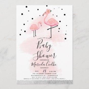 Elegant Modern Black & Pink Flamingo Baby Shower Invitation