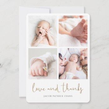 Elegant Modern Multi Photo Collage Baby Shower Thank You Card