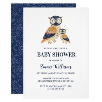 Elegant Modern Owl Baby Shower Invitation - Tribal