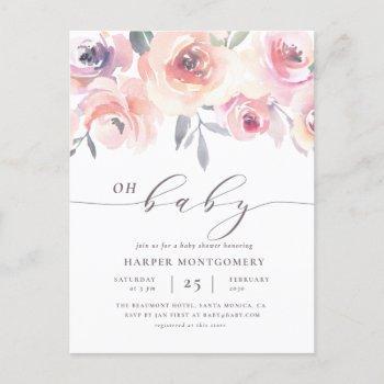 Elegant Oh Baby Lettering Floral Baby Girl Shower Invitation Postcard