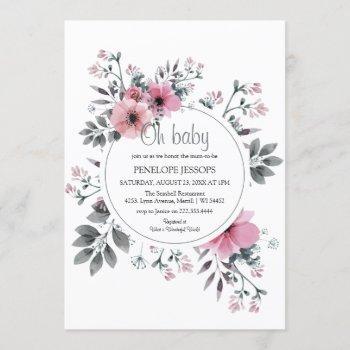 Elegant 'oh Baby' Pink & Grey Floral Baby Shower