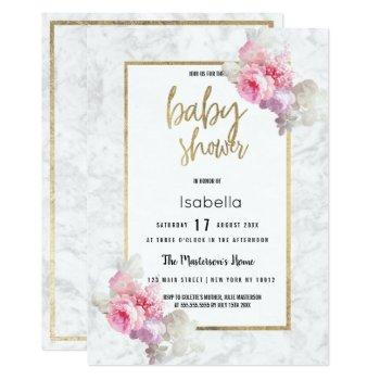 Elegant Pink Gray Marble Floral Baby Shower Invitation