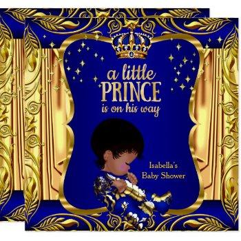 Elegant Prince Baby Shower Blue Gold Ethnic Invitation