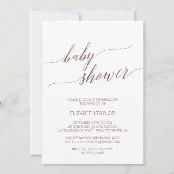 Elegant Rose Gold Calligraphy Baby Shower Invitation