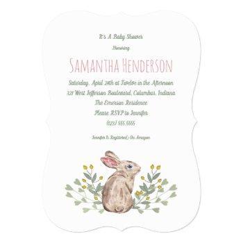 Elegant Spring Woodland Bunny Baby Shower Invite