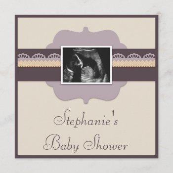 Elegant Ultrasound Photo Neutral Baby Shower Invitation