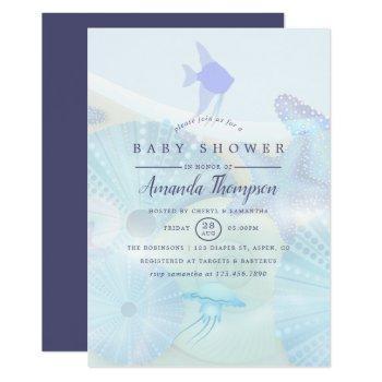 Elegant Under The Sea Ocean Themed Boy Baby Shower Invitation