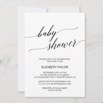 Elegant White And Black Calligraphy Baby Shower