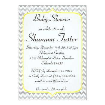 Elegant Yellow And Gray Chevron Baby Shower Invitation