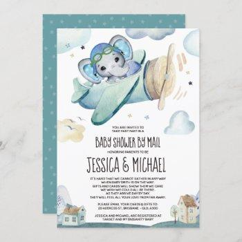 Elephant Airplane   Baby Shower By Mail Invitation