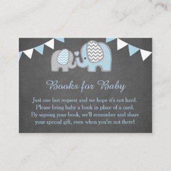 Elephant Baby Shower Book Request Card Boy