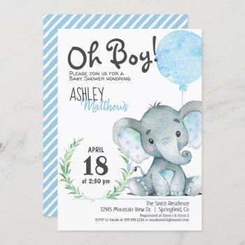 Elephant Baby Shower Boy Invitation
