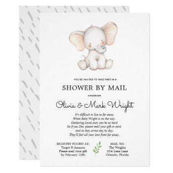 Elephant Baby Shower By Mail Invitation