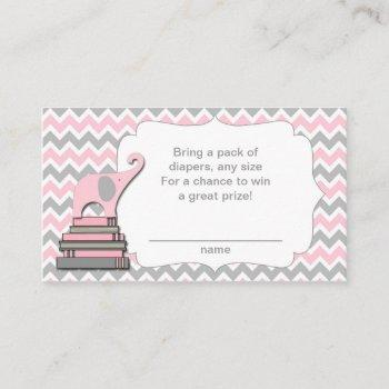 Elephant Baby Shower Diaper Raffle Tickets Pink Enclosure Card