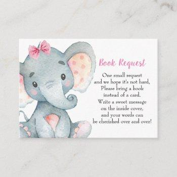 Elephant Baby Shower Girl | Book Request Card