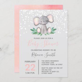Elephant Baby Shower Girl Watercolor Invitation