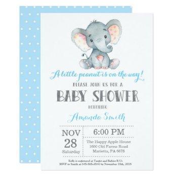 Elephant Baby Shower Invitation Blue And Gray