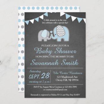 Elephant Baby Shower Invitation Boy - Chalkboard