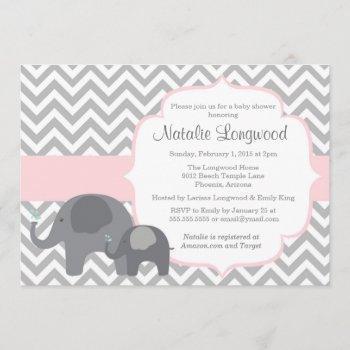 Elephant Baby Shower Invitation, Chevron With Pink Invitation