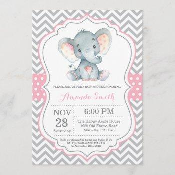 Elephant Baby Shower  Pink And Gray