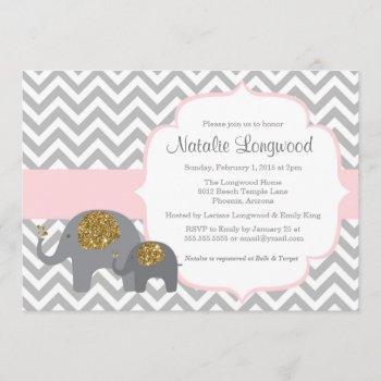 Elephant Baby Shower Invitation, Pink Gold Glitter Invitation
