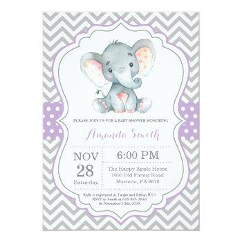 Elephant Baby Shower Invitation Purple And Gray