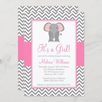 Elephant Chevron Pink Gray Girl Baby Shower Invitation