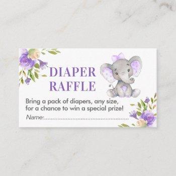 Elephant Diaper Raffle Ticket Lavender Baby Shower Enclosure Card