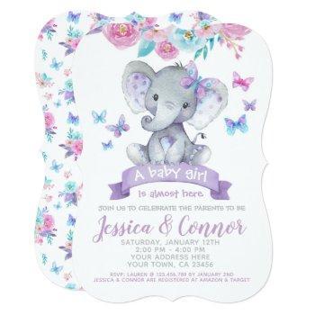 Elephant Floral Baby Shower Invitation