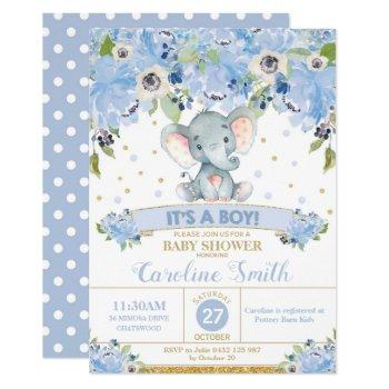 Elephant Floral Baby Shower Invitation Boy