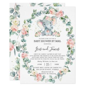 Elephant Floral Greenery Baby Shower By Mail Girl Invitation