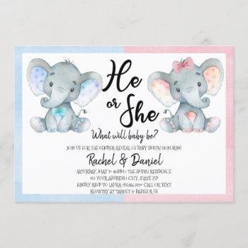 Elephant Gender Reveal He Or She Blue Pink Invitation