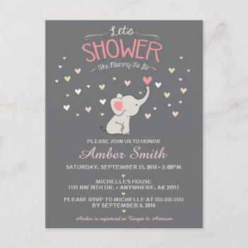 Elephant Girl Baby Shower Invitation