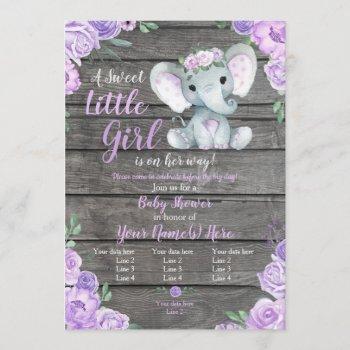Elephant Girl Invitation, Floral Rustic, Purple Invitation