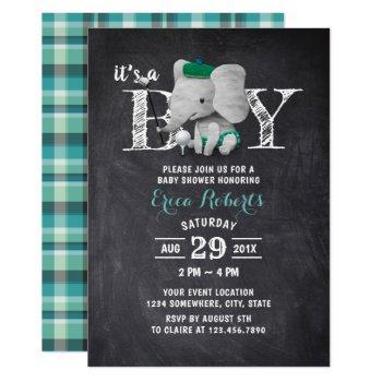 Elephant Golf Boy Rustic Chalkboard Baby Shower Invitation