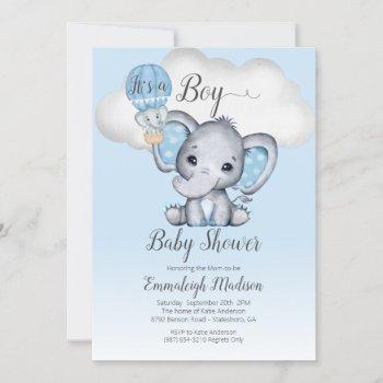 Elephant Hot Air Balloon It's A Boy Baby Shower