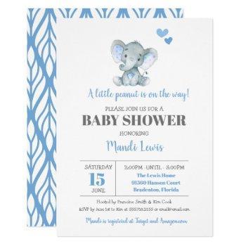Elephant Little Peanut Boy Baby Shower Invitation